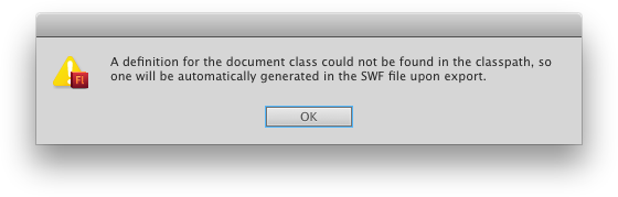 The error message when Flash can't find the document class.