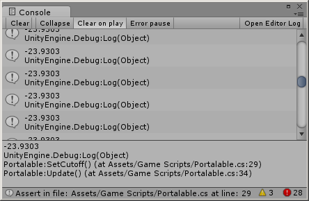 Debug console in action.