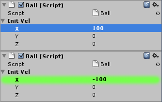 Changed velocity for both balls.