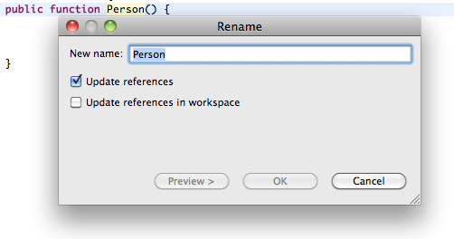 Use Rename refactoring to rename classes, functions or properties