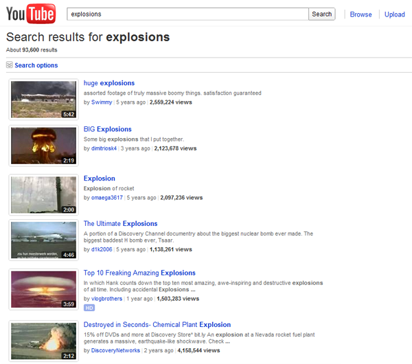 Searching for explosions on Youtube.