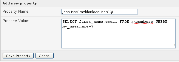 jdbcUserProvider loadUserSQL