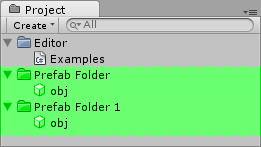 Prefabs in the folders.