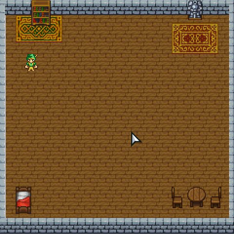 an indoor room with wooden floors, stone walls, furniture, and an animated ranger player running down the left side