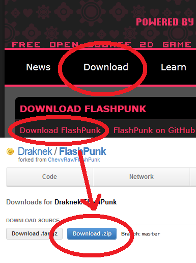 The Downloads page of FlashPunk