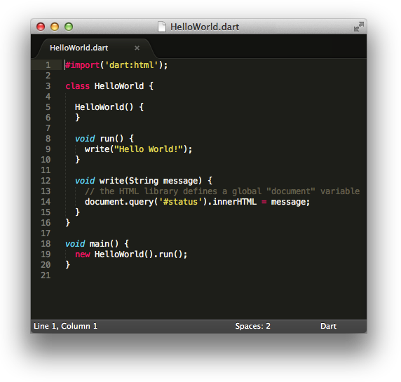 A simple Dart file in Sublime Text 2, showing off syntax highlighting