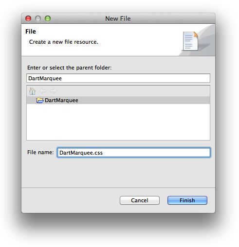 The New File window
